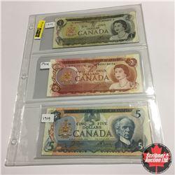 Canada Bills (3) :  1973 $1;  1974 $2;  1979 $5