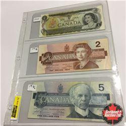 Canada Bills (3) :  1973 $1;  1986 $2;  1986 $5