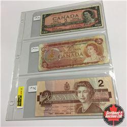 Canada Bills (3) :  1954 $2;  1974 $2;  1986 $2