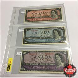 Canada Bills (3) :  1954 $2;  1954 $5;  1954 $10