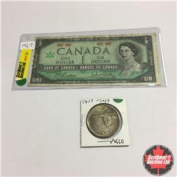 Canada Centennial $1 Bill & $1 Coin