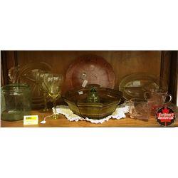 Variety of Depression Glass (Green/Amber/Yellow/Pink) 12pcs