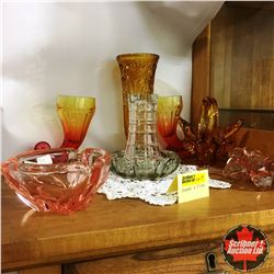 Glassware Grouping (Pink/Amber/Clear) 8pcs