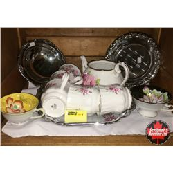 Royal Albert Tea Set, Silver Platters, 2 Occupied Japan Tea Cups