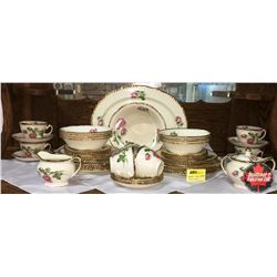 """""""Woods Ivoryware"""" Dish Set : 8 Place Setting (Incl: Platter, C&S, Serving Bowl) (Missing 1 Cup)"""