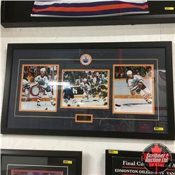 "Framed ""Moments in Time"" Legends of Edmonton (Messier, Gretzky, Kurri) 36""x20"""