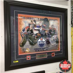 Framed Photograph - Autographed (Andy Moog, Grant Fuhr & Bill Ranford) Edmonton Oilers Dynasty Stanl