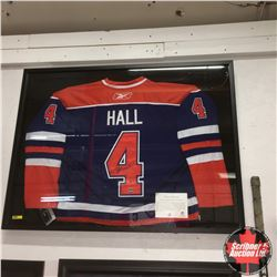 """Taylor Hall #4 Oilers : Autographed Jersey Framed with COA (41""""x31""""x2"""")"""