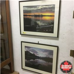 "Scenic Framed Photos (24""x20"") ""Astotin Lake, AB"" & ""Maligne Lake, Jasper National Park, AB"""