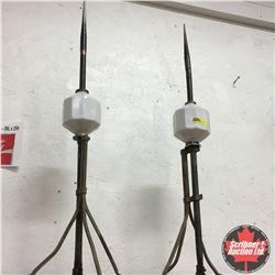 """Pair of Lightning Rods (30""""H) White Milk Glass"""