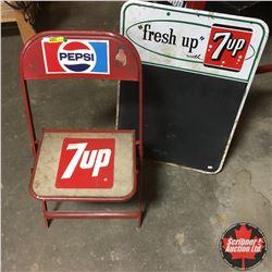 "7-Up Chalkboard (19""x27"") & Folding Chair w/Pepsi & 7-Up Stickers"