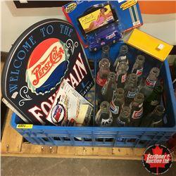 Blue Pop Crate - Pepsi Theme: Bottles, Signs, Calendar, etc