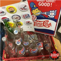 Coca Cola Crate w/Contents: Signs, Bottles, & Pepsi Buttons