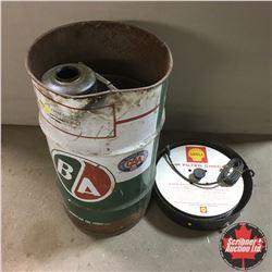 "B/A Grease Barrel 27""H & Shell Air Filter Check & Old Oiler"