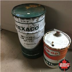 "Co-Op Oil Pail (Full) & Texaco Grease Barrel 27""H"