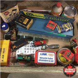 Tray Lot: WHIZ Motor Rhythm Tin & WHIZ Lubricant Tin & GC Stackpole Resistors Counter Display & Vari