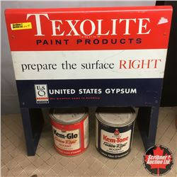 Texolite Paint Products Store Display w/2 Paint Can Quarts