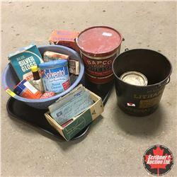 Tray Lot: Litharge Paint Pail, Bapco Pail, Dough Pan w/Variety Tins & Boxes & Vintage Bank of M