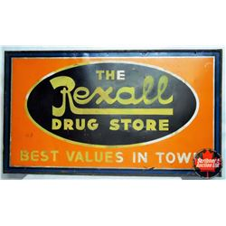 """Painted Tin Rexall Drugs sign (72""""L x 48""""H)"""