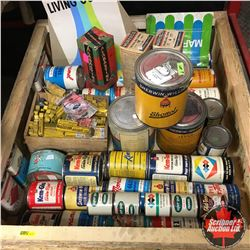 Crate Lot: Large Collection Vintage Paint Tins & Posters (Most Full)