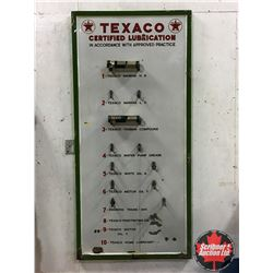 """Rare """"Texaco Certified Lubrication"""" (35""""x74""""x1"""") Service Station Grease Display Wall Mount Rack !"""