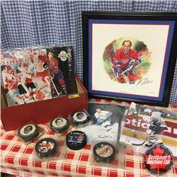 Tray Lot: Photographs w/Autographs (incl Gordie Howe), Hockey Pucks, Guy Lafleur Limited Edition Pri