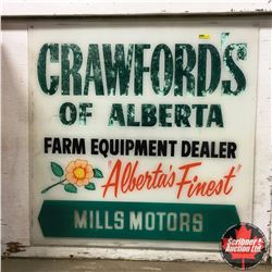 "Sign: Crawford's of Alberta Farm Equipment Dealer ""Mills Motors"""