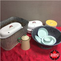 Beatty Washtub, Collection of Enamelware & Graniteware Dough Pan & Canister Set