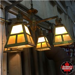 Victorian Hanging Chandelier Slag Glass Arts & Crafts Lamp c.1910