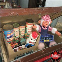 Trunk w/Contents: Building Bricks, American Logs, Farm Animals, Monkey Doll, etc