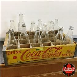 CHOICE of 2: Yellow Coca-Cola Wood Bottle Crate 1963 w/12 Bottles