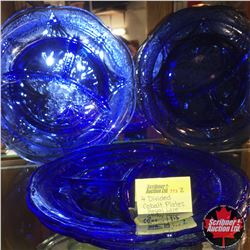 Royal Lace Depression Glass - Cobalt Blue : 4 Divided Plates