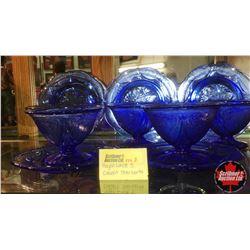 Royal Lace Depression Glass - Cobalt Blue : 5 Sherberts & 5 Plates
