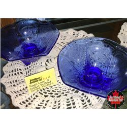 Royal Lace Depression Glass - Cobalt Blue : Ruffled Candle Holders (2)