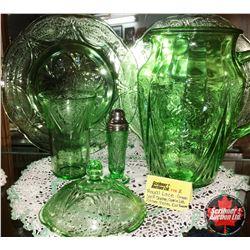 Royal Lace Depression Glass - Green : 10oz Tumbler, Salt Shaker, Pitcher, Cookie Jar Lid, 2 Dinner P
