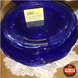 Royal Lace Depression Glass - Cobalt Blue : Luncheon Plates (4) & Dinner Plates (6)