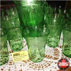 Royal Lace Depression Glass - Green : Tumblers (11) & Pitcher