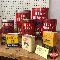 "Blue Ribbon Wood Shipping Crate (30""x18""x17"") w/Large Blue Ribbon Tin Collection"