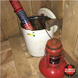 Dietz Lantern (Red) & Liberty Fire Extinguisher & Heavy Metal Items