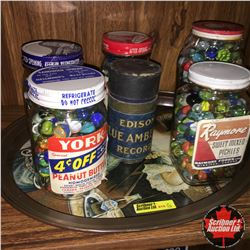 Pepsi Tray Lot: Jars of Marbles (5) & Edison Cylinder Record