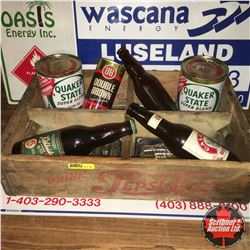Pepsi Cola Wood Crate Lot: Beer Bottles, Oil Quarts, Change Maker, 2003 Hesston Buckle, 3 Oilfield S