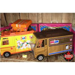 Large MATTEL Group : Big Jim Motorhome & Barbie Camper + 4 Carry Cases, Clothing, 3 Dolls . . .