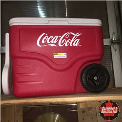 "Coca-Cola Coleman Rolling Cooler AND Large New Coke Banner (72""x 57"")"