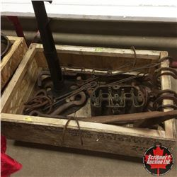 Crate Lot: Forge Stand, Horse Shoes, Engine Head, etc ! Must Look !