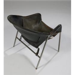 Sensational Mid Century Modern Black Leather Sling Chair Inzonedesignstudio Interior Chair Design Inzonedesignstudiocom