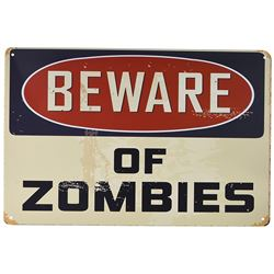 "NEW BEWARE OF ZOMBIES 12"" X 8"" METAL SIGN"
