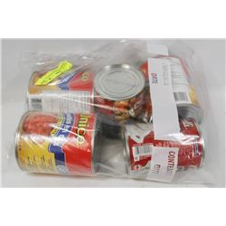 LOT OF 5 ASSORTED CANNED FOOD INCLUDING TOMATO,