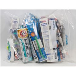 LARGE BAG OF ASSORTED DENTAL HYGIENE ITEMS