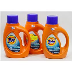 3 BOTTLES OF TIDE COLDWATER CLEAN LAUNDRY
