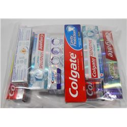 BAG OF ASSORTED TOOTHPASTES.